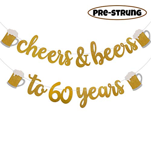 Cheers & Beers to 60 Years Gold Glitter Banner for 60th Birthday Wedding Anniversary Party Decorations Pre Strung & Ready To Hang]()