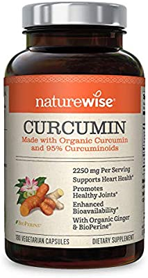 NatureWise Curcumin Turmeric 2250mg   95% Curcuminoids & BioPerine Black Pepper Extract   Advanced Absorption for Cardiovascular Health Joint Support   Gluten Free Non-GMO [2 Month Supply - 180 Count]