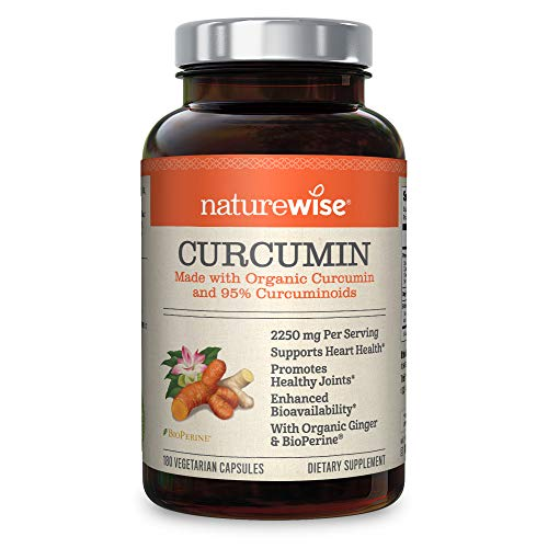 NatureWise Organic Curcumin Turmeric with 95 Curcuminoids, 2250mg Max Serving Per Day from Three 750mg Capsules, High Absorption BioPerine Black Pepper for Inflammation Joint Support, 180 Caps