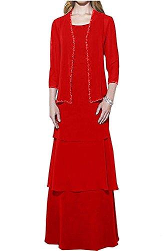 Dunkel La Braut Jaket Ballkleider Langes Herrlich Damen Rot Langarm Abendkleider Brautmutterkleider mia Braun mit nxrpx6tg