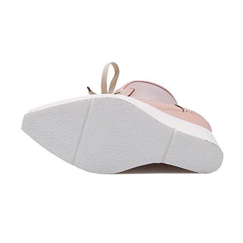 AgooLar Stiefel Niedrig Pink PU Hoher Damen Schnüren Spitze Absatz Rein r6A4RrZqf