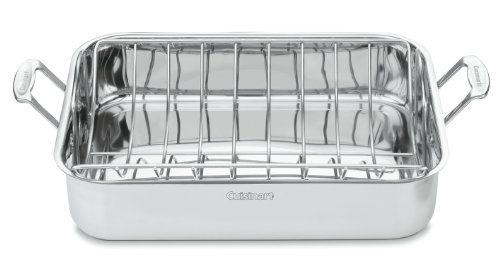[Cuisinart Chef's Classic Stainless 16-Inch Rectangular Roaster with Rack, 7117-16UR] (Shallow Roasting Pan)