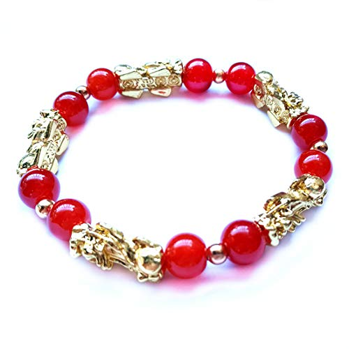 - MANRUO Feng Shui Amulet Bracelet The Best Porsperity Red Bead Bracelet with 5 Vietnamese Sand Gold Plated Pi Xiu/Pi Yao Lucky Wealthy Brecelet