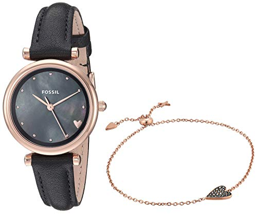 Fossil Women's Mini Carlie Stainless Steel Quartz Watch with Leather Strap, Black, 10.9 (Model: ES4506SET)