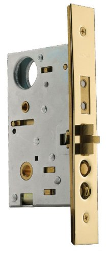 (Baldwin 6021.003.L Left Handed Handleset and Knob Entrance Mortise Lock with 2-3/4-Inch Backset and Emergency Egress, Lifetime Polished Brass)