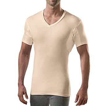 Thompson Tee with Sweat Pads Slim Fit Vneck, Rayon from Bamboo, Beige, X-Small