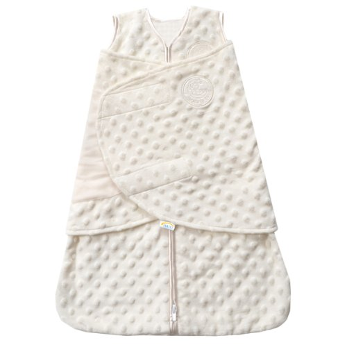 HALO SleepSack Plush Dot Velboa Swaddle, Cream, Newborn