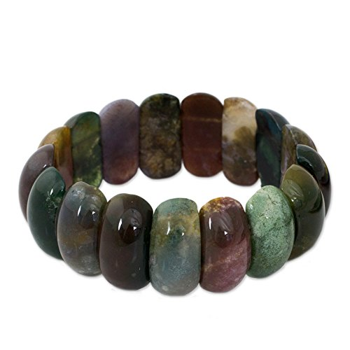 NOVICA Dyed Jasper Multicolor Stones Rounded Bead Stretch Cuff Band Bracelet, 7 Just Glow