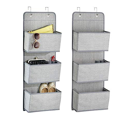 mDesign Soft Fabric Over The Door Hanging Storage Organizer with 3 Large Pockets for Closets in Bedrooms, Hallway, Entryway, Mudroom - Hooks Included - Textured Print, 2 Pack - Gray
