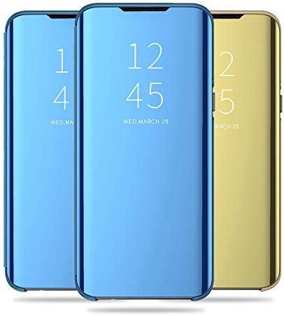 Kompatibel mit Galaxy Note 10+ Plus Bumper Hülle - [3 Stück Blau Satz] Klapphülle Handyhülle Schutzhülle für Galaxy Note 10+ Plus Handytasche Spiegel Hüllen Leder Flip Cover