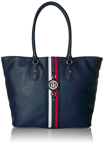 Tommy Hilfiger Jaden Travel Tote Bag for Women, Navy Polyvinyl Chloride by Tommy Hilfiger