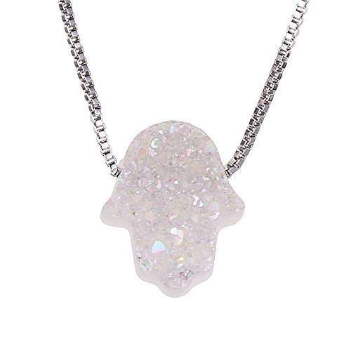 - ShinyJewelry Fashion 925 Silver Chain druzy Stone Hamsa Pendant Necklace for Women (Opal White)