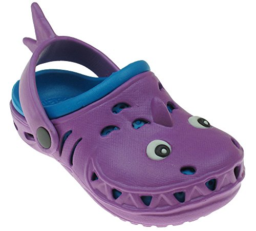 Back Strap Clog - Capelli New York Shark Neon Toddler Girls Clog With Back Strap Purple Combo 4/5