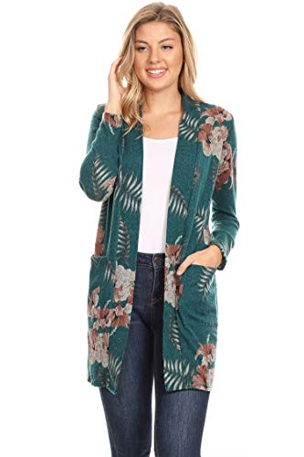 Long Sleeve Casual Duster Classic Solid Long Body Cardigan/Made in USA Floral Peacock Green 2XL
