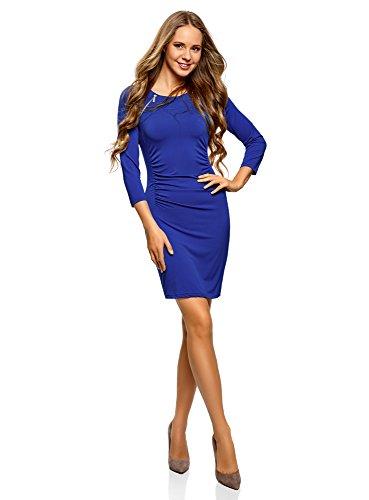Vestido oodji Decorativas Silueta Ajustada Cremalleras Azul de 7500n con Mujer Collection EgFgqHa