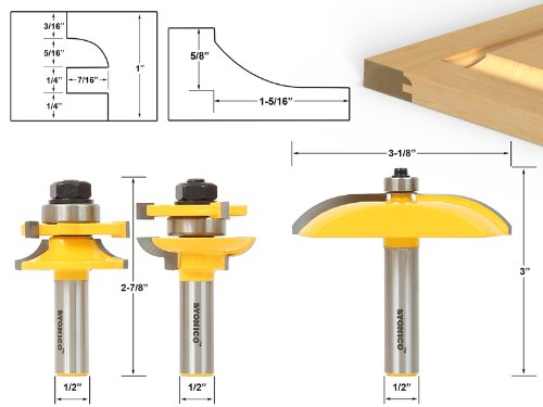 - Raised Panel Cabinet Door Router Bit Set - 3 Bit Cove -  12339