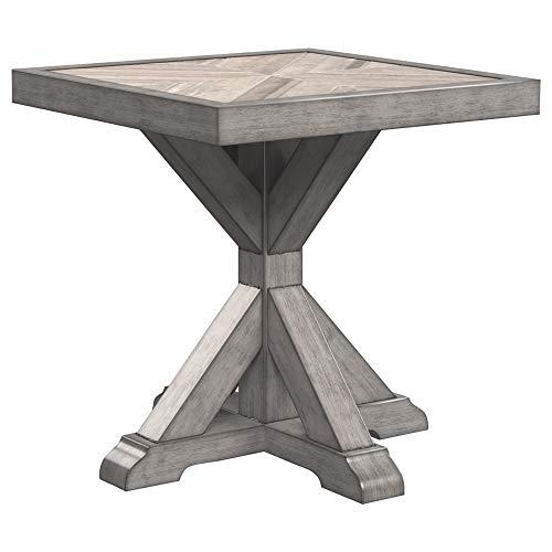 Ashley Furniture Signature Design – Beachcroft Outdoor Square End Table – Porcelain Top – Beige