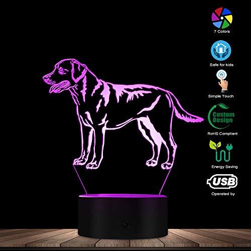 3D Labrador Retriever Dog Shape Design LED Night Light Puppy Table Lamp Decorative Lighting Sleepy Light for Dog Lover Gift (Light Labrador Night)