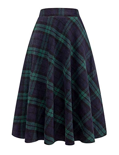 IDEALSANXUN Womens High Elastic Waist Maxi Skirt A-line Plaid Winter Warm Flare Long Skirt (X-Large, Long ()