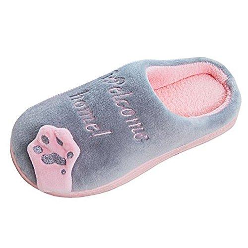Comode E Donna Peluche Grigio Scarpe Calde Gatto Jackshibo Pantofole Casa Morbido Da Pantofole Coppie Inverno gTdwH80xq