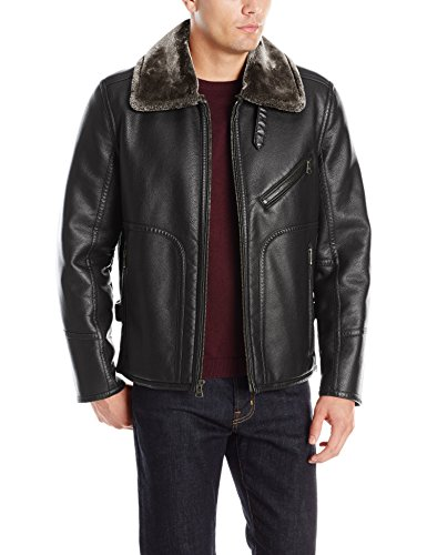 (Marc New York by Andrew Marc Men's Lenox Faux Shearling Pilot Jacket, Black, Medium )