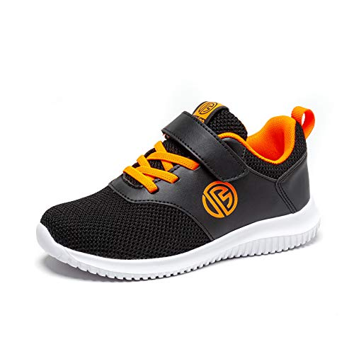 BONDON Black Orange Toddler Little Big Kids Boys Girls Knit Mesh Sneakers Unisex Running Shoes