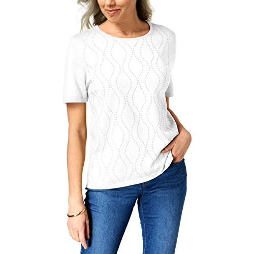 Alfred Dunner Women's Petite Vertical Waves Sweater, White, PM ()