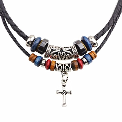 Usstore 1PC Women Men Double Braided Rope Beads Vintage Cross Necklace Alloy Gift