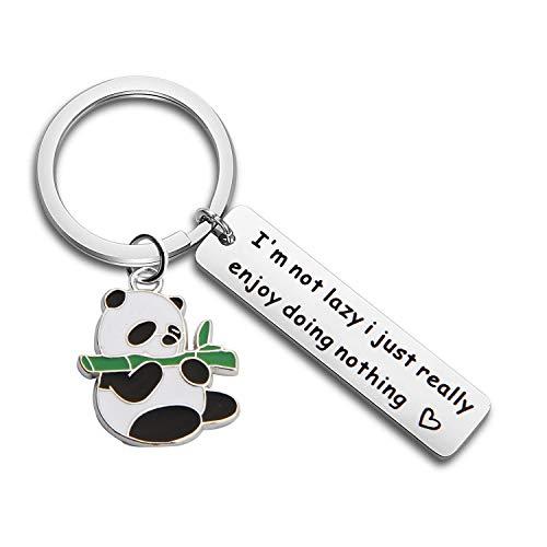MAOFAED Panda Gift Panda Keychain Panda Lover Gift I'm Not Lazy I Just Really Enjoy Doing Nothing Animal Gift (Panda Keychain)]()