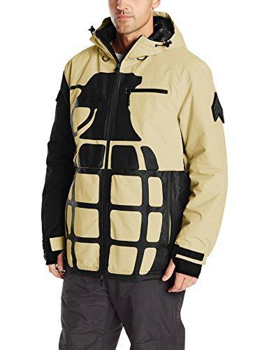 Grenade Gloves Men's Solid Positive Negative Board Jacket, Khaki, Small