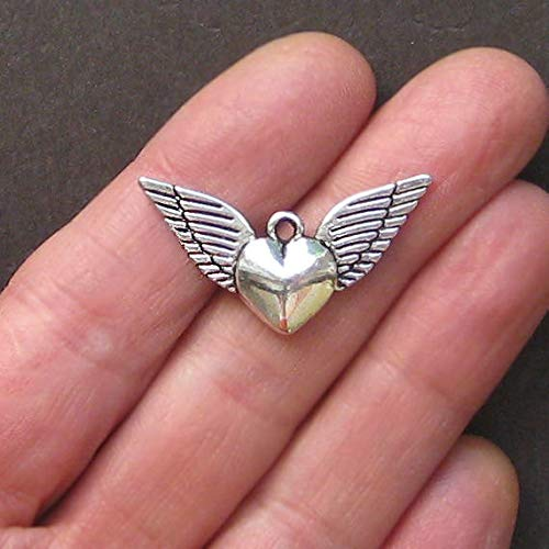 4 Winged Heart Charms Antique Silver Tone Great Quality and 2 Sided Jewerly Making Supply Bracelet DIY Crafting by Easy to be happy! ()