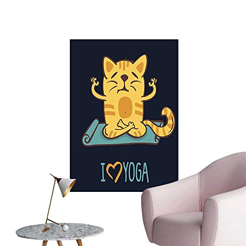 (Wall Stickers for Living Room Love Yoga Theme Cute Cartoon Cat Exercise Mat Lotus Position Dark Blue Light Vinyl Wall Stickers Print,28