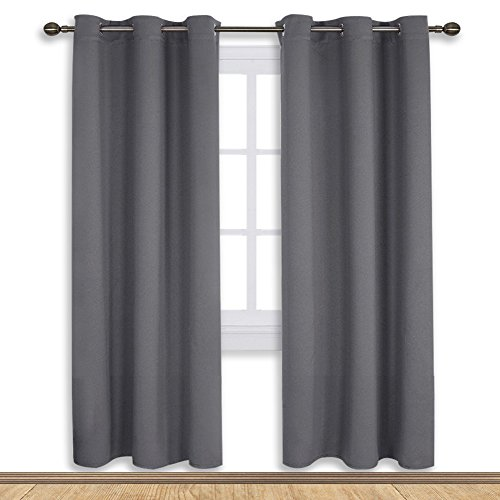 NICETOWN Bedroom Blackout Draperies Curtains Panels, Three Pass Microfiber Noise Reducing Thermal Insulated Solid Ring Top Blackout Window Curtains (Two Panels,42 x 72 Inch,Gray)