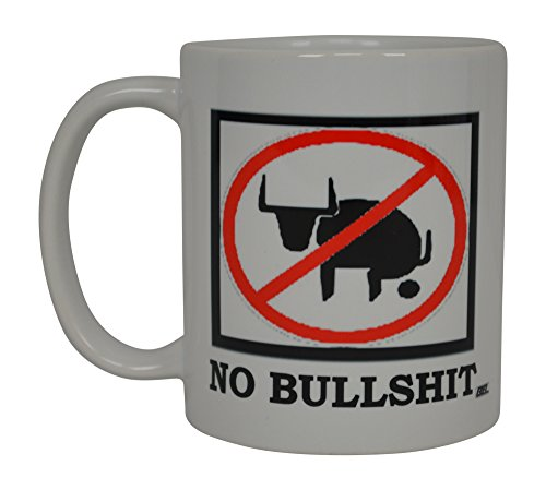 Funny Coffee Mug No Bull Bullshit BS Novelty Cup Great Gift Idea For Men Construction worker Mechanic Laborer Humor Brother or Friend