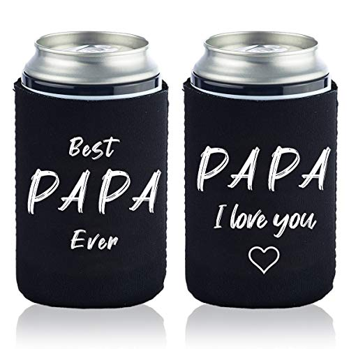 Best Papa Ever Gift Can Coolers Sleeves - Top Fathers Day Gifts or Grandfather Gift For Dads, Husband, Men - Fun Unique Gift Idea For Him From Daughter, Son, Wife,grandson,granddaughter-2PCS (Best Father Daughter Wedding Dance Ever)