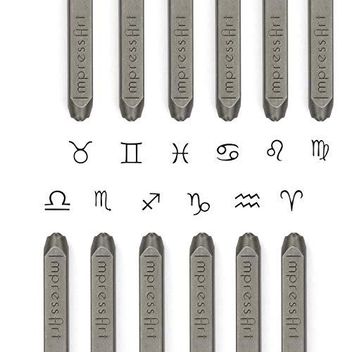 ImpressArt Signature Zodiac Sign Metal Stamp Pack - 12 Horoscope Designs