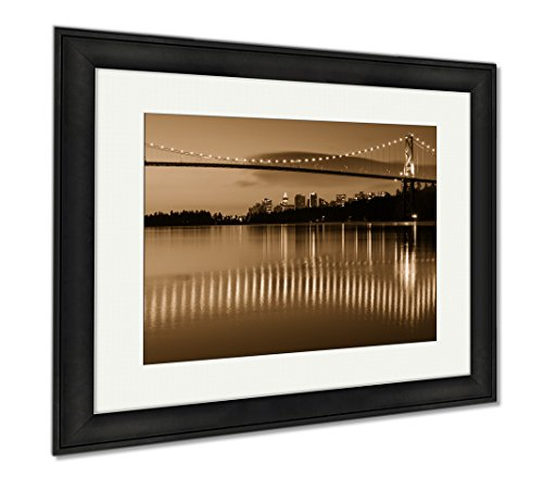 Ashley Framed Prints Lions Gate Vancouver Dawn, Wall Art Home Decoration, Sepia, 26x30 (frame size), Black Frame, - Crossing Shops In Downtown