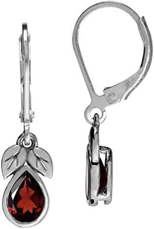 1.66ct. Natural Garnet 925 Sterling Silver Leaf Drop Dangle Leverback Earrings