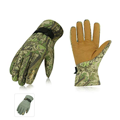Vgo... 2Pairs -4℉ or Above 3M Thinsulate G80 Lined Winter Gloves Designed for Skiing,Outdoor,Shredding,Shoveling&Snowballs,Waterproof, Windproof(Camo&Cadet Blue,Size L,SL2269)