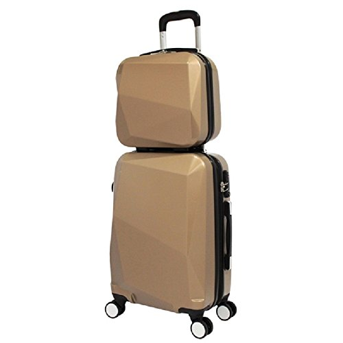 Gold Color Carry-on Spinner Luggage 2-Piece Set, Solid Diamond Pattern, Stylish, Fashionable, Lightweight, Expandable, Hard shell, Locking, Handle, Hardsided, Upright Rolling Suitcase, For Unisex by S & E