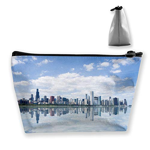 View Of Chicago Waterfront Modern City Reflection Pen Stationery Pencil Case Cosmetic Makeup Bag Pouch ()