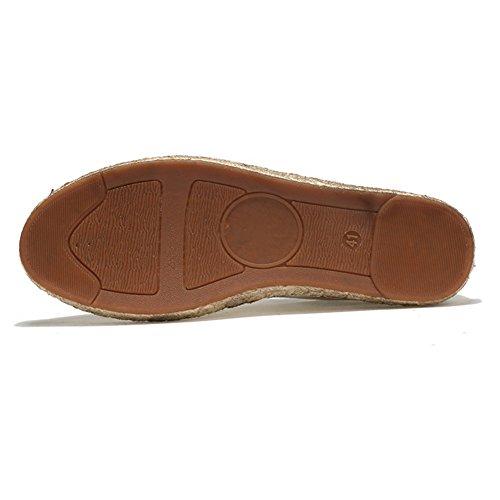 Espadrilles für Herren,Chinesischer Stil Ohne Verschluss Leinwand Schuhe Komfort Atmungsaktiv Hand nähen Leinensohle Lässige Schuhe Black