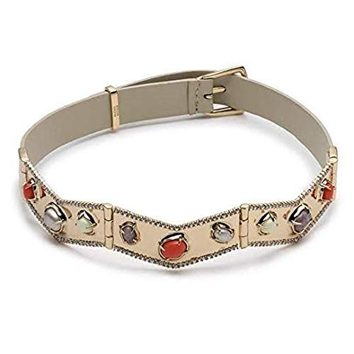 Alexis Bittar Women's Sculptural Gold Stone Cluster Bracelet w/Buckle and Leather Strap