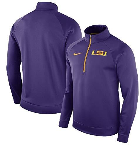 NIKE Men's LSU Tigers Performance Half-Zip Pullover Jacket Purple Size XXL (Performance Nike Jacket)