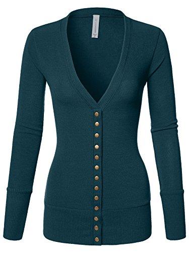 Luna Flower Women's V-Neck Snap Button Long Sleeve Soft Basic Knit Snap Cardigan Sweater Hunter_Green Small (GCDW027)