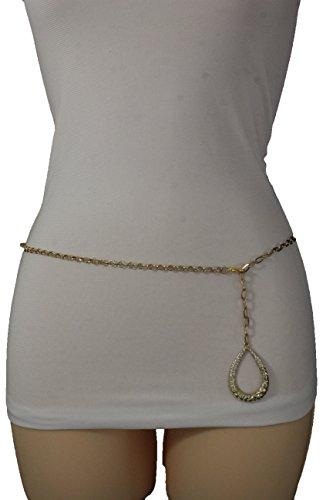 TFJ Women Fashion Metal Belt Hip High Waist Chains Links Drop Charm Plus M L XL Gold