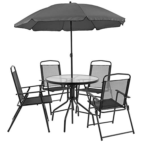 6 PCS Patio Garden Set Furniture 4 Folding Chairs Table with Umbrella Gray New HW52116 ()