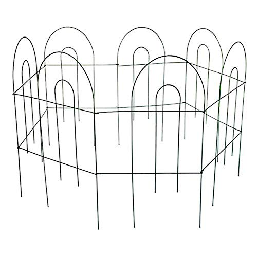 MTB Green Garden Border Folding Fence Lawn Yard Fence 24 Inch x 10 Feet,Pack of 5 set, Overall Length 50 Feet,Landscape Panel,Folding Patio Fences Flower Bed Pet Barrier Section Panel Decorative Fence