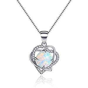 Sterling Silver Heart Created Opal Diamond Necklace June Birthstone Pendant Love Necklace for Girlfriend