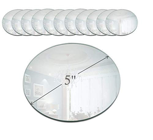 Light In The Dark 5 Inch Round Mirror Candle Plate with Beveled Edge Set of 12 - Small Round Mirrors for Centerpieces, Wall Décor, Crafts